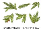 fir tree branches with fir... | Shutterstock .eps vector #1718441167