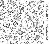 hand drawn seamless pattern of... | Shutterstock .eps vector #1718459164