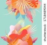 summer tropical background.... | Shutterstock .eps vector #1718489044