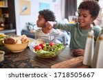 Afro American Kids Eating...
