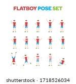 flat design boy character pose...   Shutterstock .eps vector #1718526034