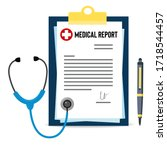 medical report placed on... | Shutterstock .eps vector #1718544457
