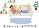 couple spending time at home...   Shutterstock .eps vector #1718552554