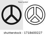 peace logo symbol. black line...   Shutterstock .eps vector #1718600227