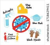 novel coronavirus prevention....   Shutterstock .eps vector #1718629411