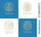 nature logo set. floral logo.... | Shutterstock .eps vector #1718633371