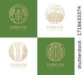 nature logo set. floral logo.... | Shutterstock .eps vector #1718633374