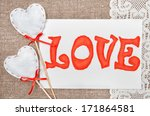 valentine card with drawing...   Shutterstock . vector #171864581