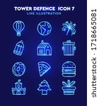 set of linear icons for tower... | Shutterstock .eps vector #1718665081