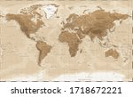 world map   vintage physical... | Shutterstock .eps vector #1718672221