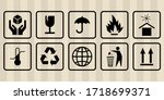 fragile mark label  box signs ...   Shutterstock .eps vector #1718699371