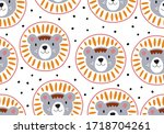 vector pattern with lion ... | Shutterstock .eps vector #1718704261