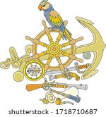 funny pirate parrot with an old ... | Shutterstock .eps vector #1718710687