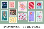 set of beautiful hand drawn... | Shutterstock .eps vector #1718719261