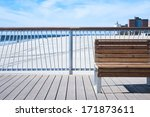 Bench On Wooden Pier At Seasid...