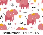 seamless baby pattern with... | Shutterstock .eps vector #1718740177