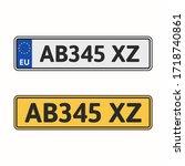 license plate of european union.... | Shutterstock .eps vector #1718740861