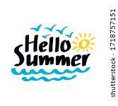hello summer vector lettering.... | Shutterstock .eps vector #1718757151