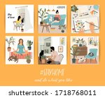 stay at home. people stay in... | Shutterstock .eps vector #1718768011