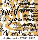 Seamless Slogans Pattern  Hand...