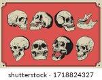 skull vintage engraving style... | Shutterstock .eps vector #1718824327