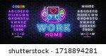 work home neon concept... | Shutterstock .eps vector #1718894281