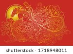 infinity dragon with peony and... | Shutterstock .eps vector #1718948011