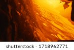 View inside of a blast furnace during the process of metal melting, heavy industry concept. Stock footage. Metallurgical production, hot workshop at the plant, engineering.