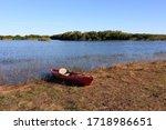 Red Kayak On Nine Mile Pond In...