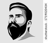 cool beard man vector logo... | Shutterstock .eps vector #1719020434