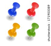 colorful push pins  | Shutterstock .eps vector #171903389
