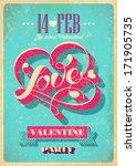 vintage valentine poster.... | Shutterstock .eps vector #171905735
