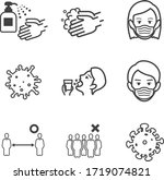 hand washing  disinfection ...   Shutterstock .eps vector #1719074821