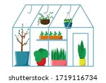 glass greenhouse with  plants... | Shutterstock .eps vector #1719116734
