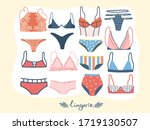 set of woman lingerie and... | Shutterstock .eps vector #1719130507