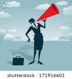 Abstract Businesswoman with Megaphone.  Great illustration of Retro styled Businesswoman shouting at the top of her voice through a loudspeaker megaphone.  - stock vector