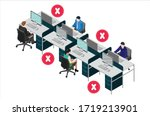 social distancing at office... | Shutterstock .eps vector #1719213901