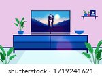 tv with romantic show or series ... | Shutterstock .eps vector #1719241621