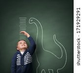 young boy measuring his growth... | Shutterstock . vector #171929291