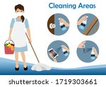 cleaning service woman holding...   Shutterstock .eps vector #1719303661