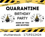 quarantine birthday party... | Shutterstock .eps vector #1719312424