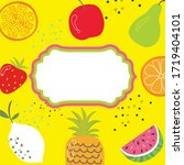 fruits template with frame ... | Shutterstock .eps vector #1719404101