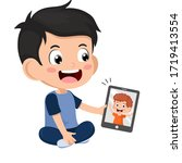 video conference. cute little...   Shutterstock .eps vector #1719413554