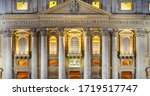 Facade of San Pietro or St. Peter Basilica, a World Heritage Site by the Unesco in Vatican City State close by Rome City of Italy in Europe