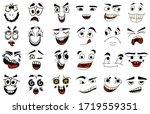 cartoon faces. kawaii cute... | Shutterstock .eps vector #1719559351
