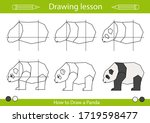 how to draw a panda. step by...   Shutterstock .eps vector #1719598477