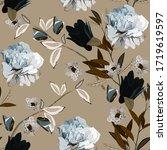 bouquet of delicate light blue... | Shutterstock .eps vector #1719619597