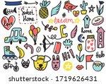 summer doodles set. hand style... | Shutterstock .eps vector #1719626431
