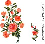 floral design for embroidery...   Shutterstock . vector #1719633211