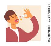 man takes medicine. pills in...   Shutterstock .eps vector #1719708694